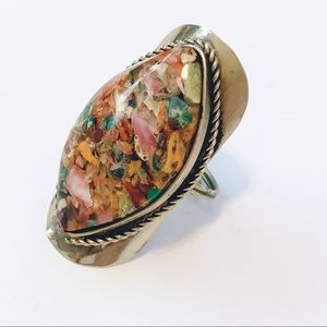 Native American Silver Tone Enamel Cocktail Ring